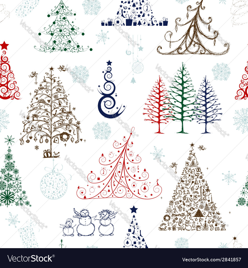 Christmas trees seamless pattern for your design vector | Price: 1 Credit (USD $1)