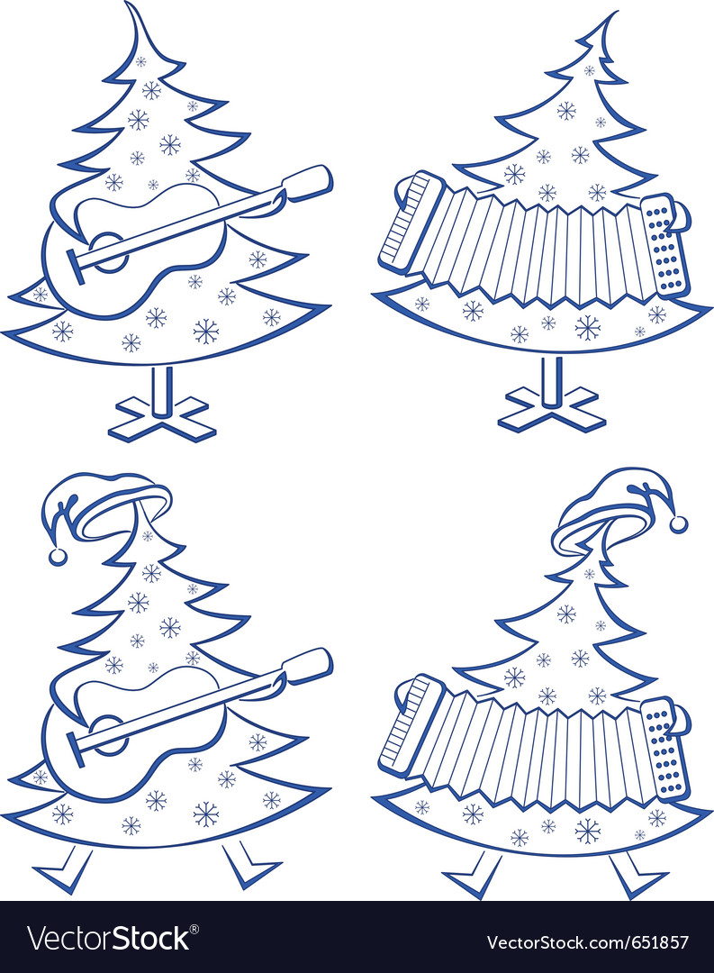 Christmas trees set musicians vector | Price: 1 Credit (USD $1)