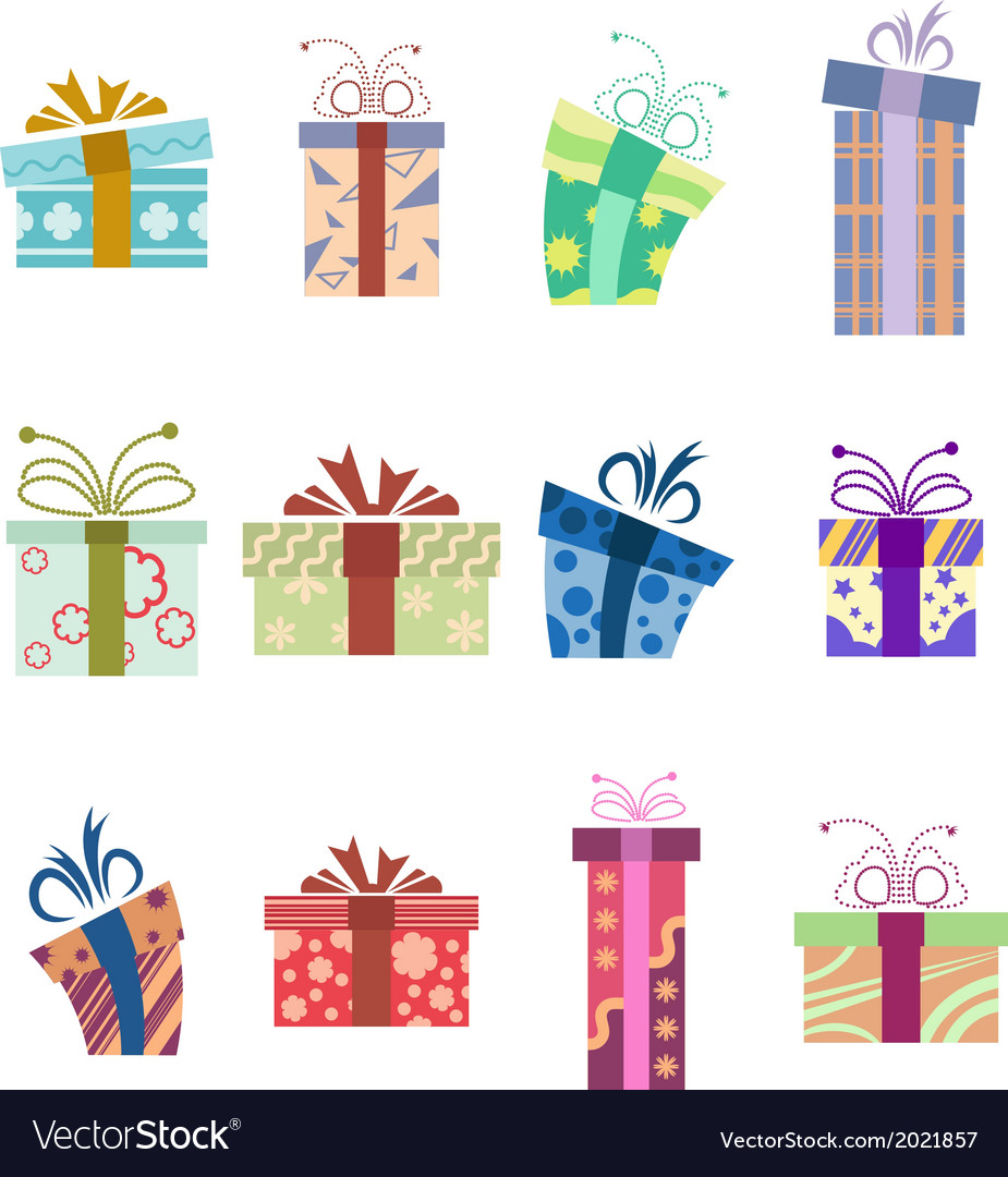 Icons with presents vector | Price: 1 Credit (USD $1)