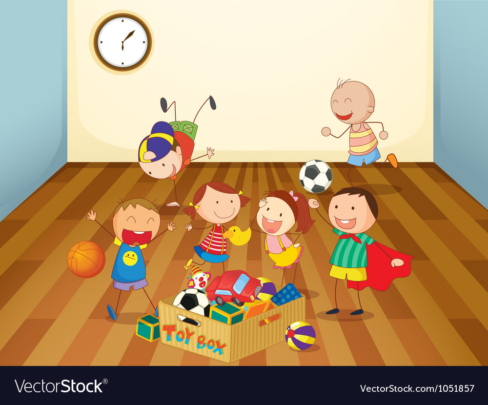 Kids playing in a room vector | Price: 3 Credit (USD $3)