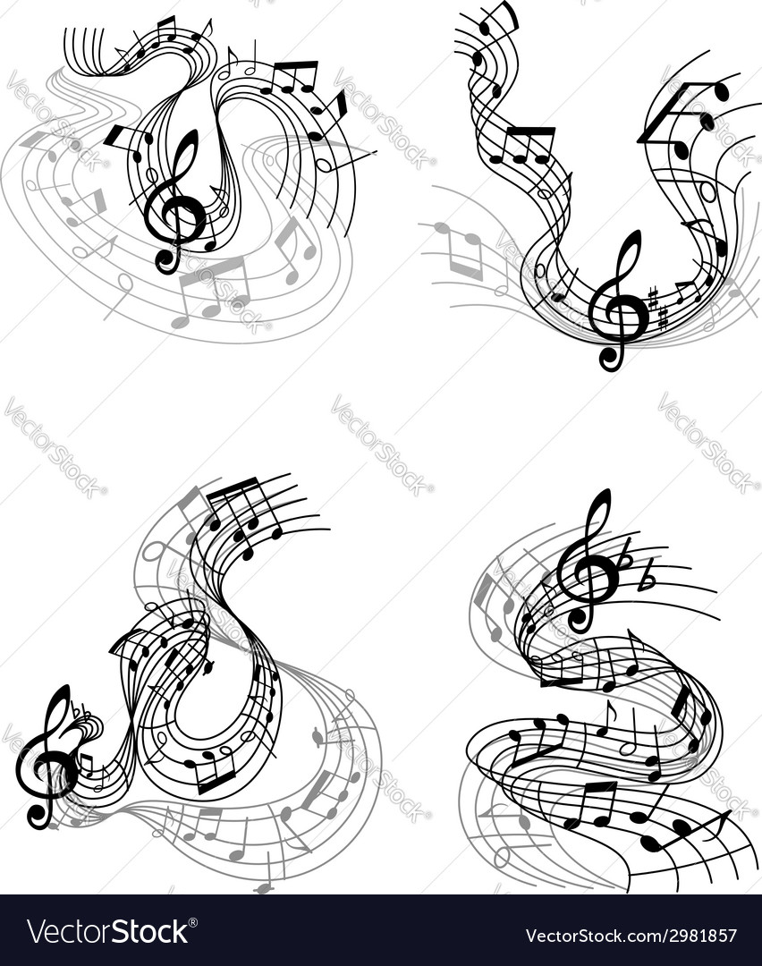 Musical compositions with music waves vector | Price: 1 Credit (USD $1)