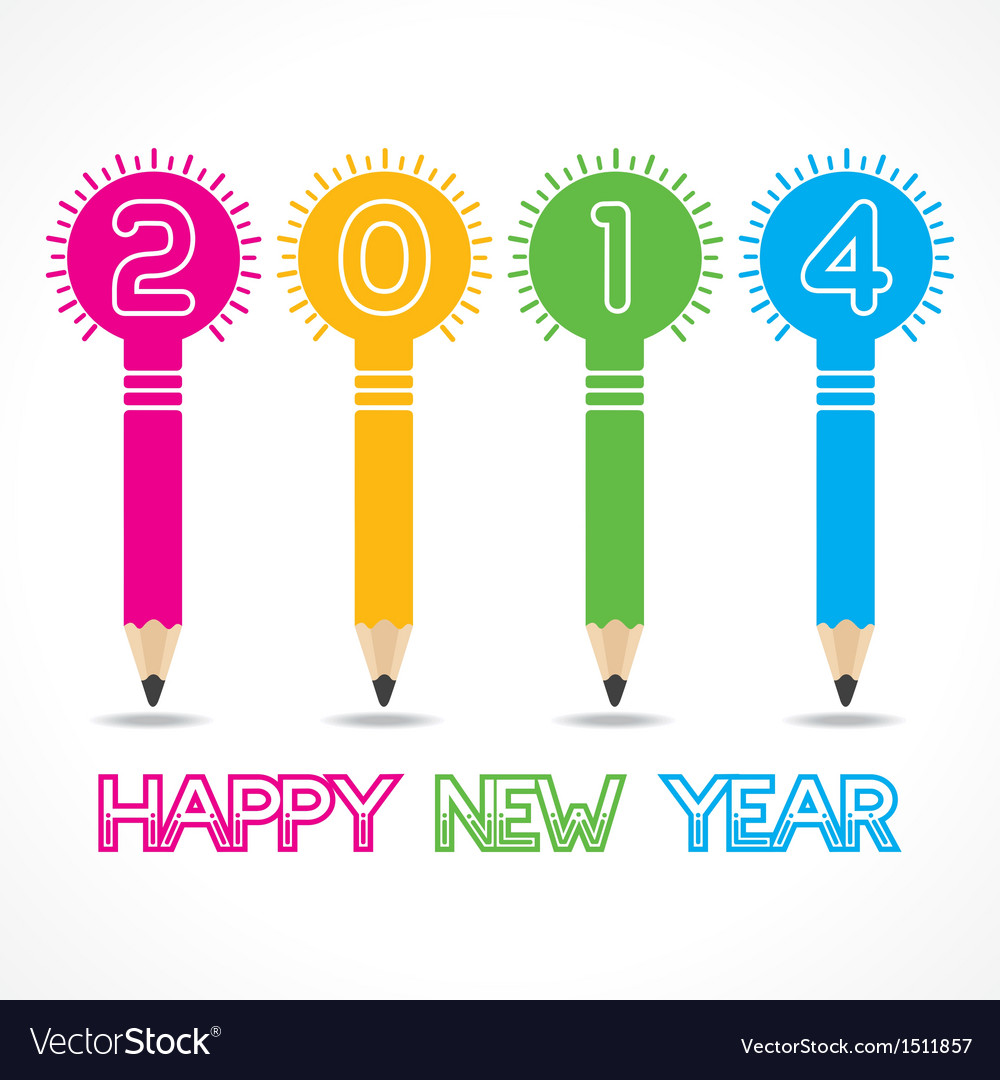 New year greeting with pencil bulb2014 vector | Price: 1 Credit (USD $1)