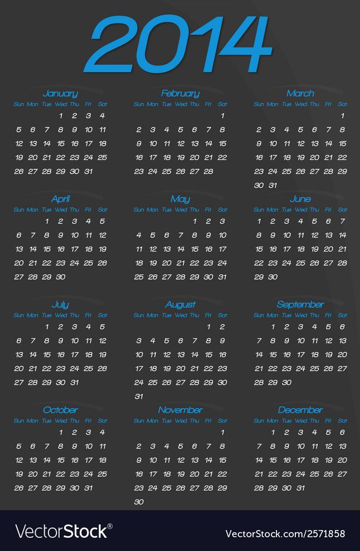 Calendar year template vector | Price: 1 Credit (USD $1)