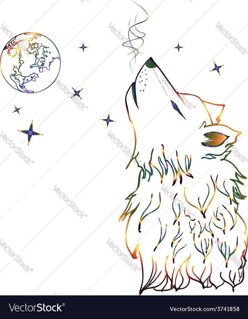 Colorful howling wolf vector | Price: 1 Credit (USD $1)