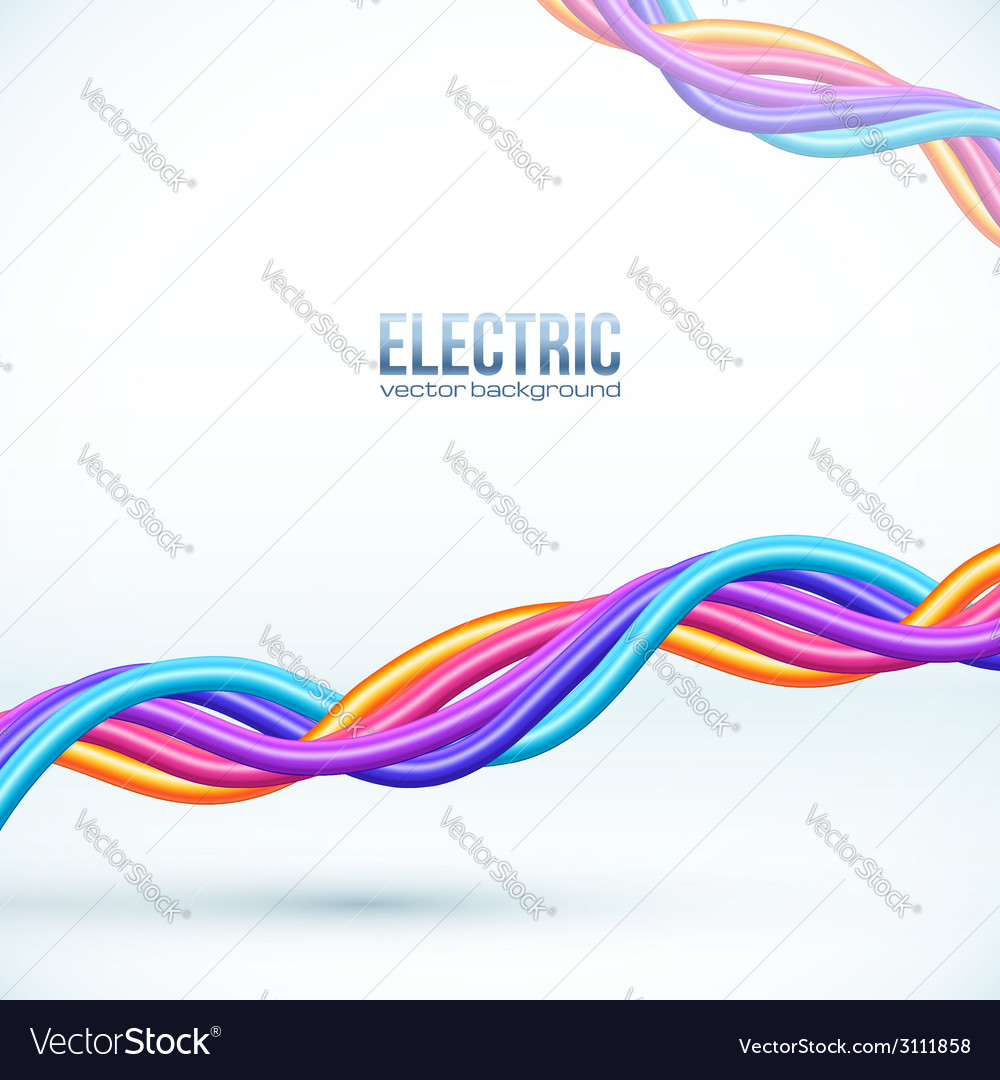 Colorful plastic twisted cables background vector | Price: 1 Credit (USD $1)