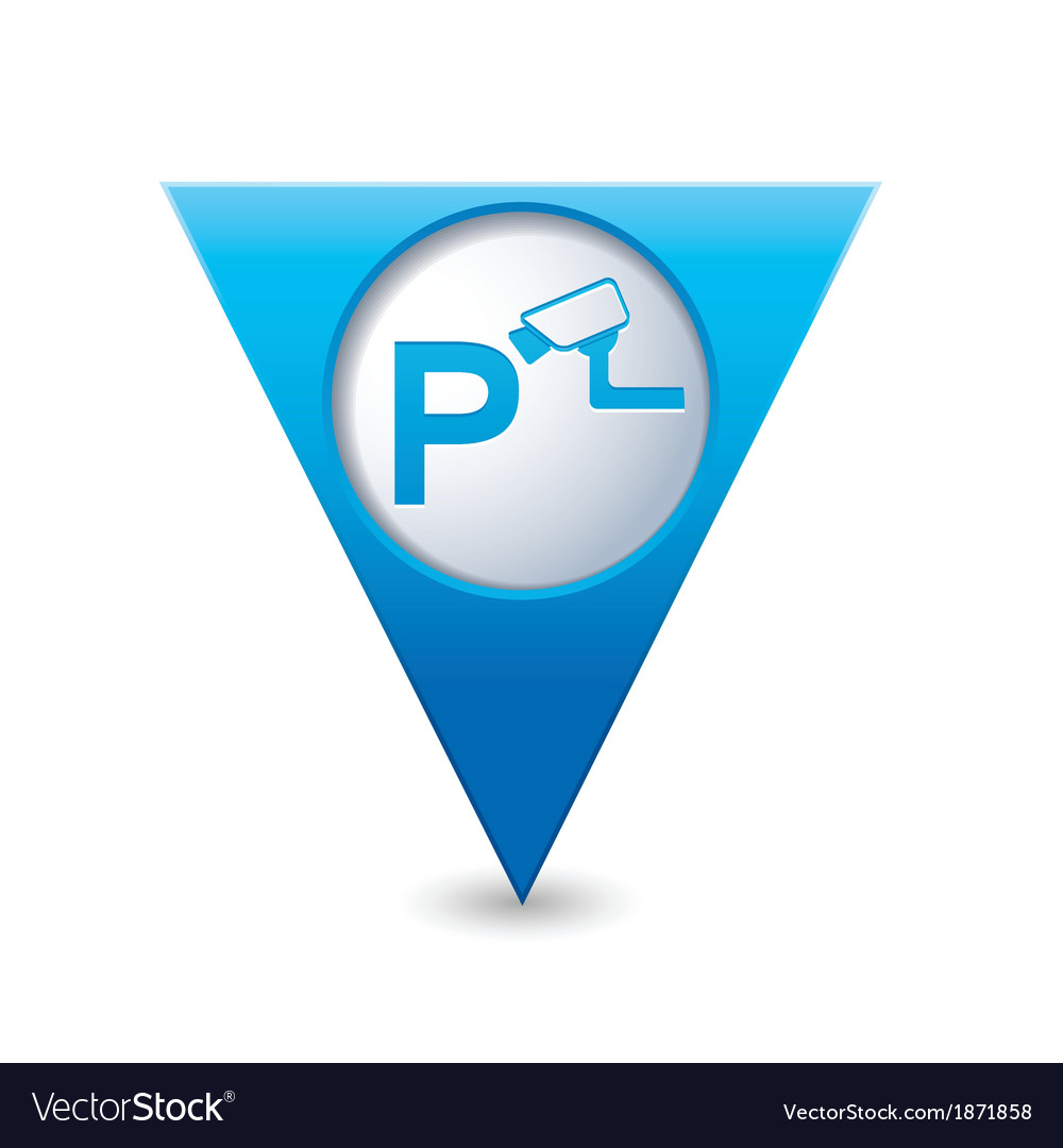 Parking under supervision icon map pointer blue vector | Price: 1 Credit (USD $1)