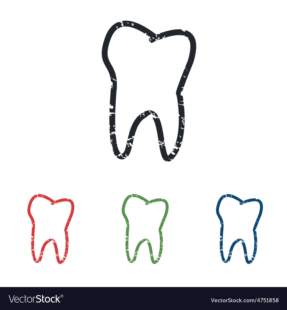 Tooth grunge icon set vector | Price: 1 Credit (USD $1)