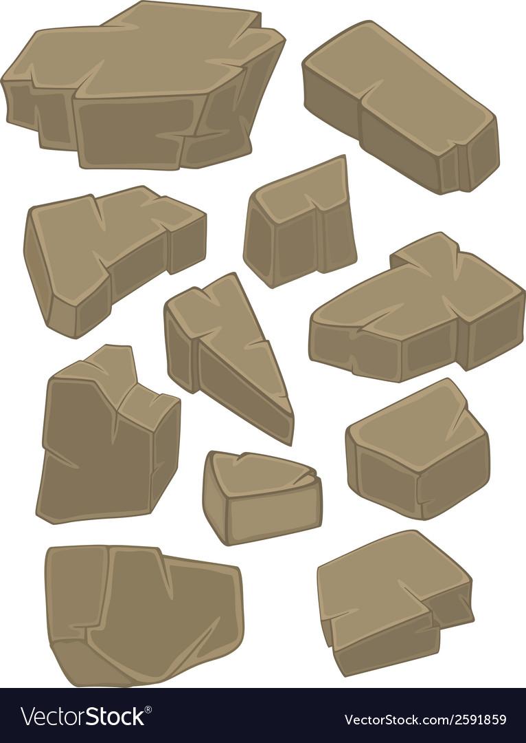 A set of stones cartoon vector | Price: 1 Credit (USD $1)