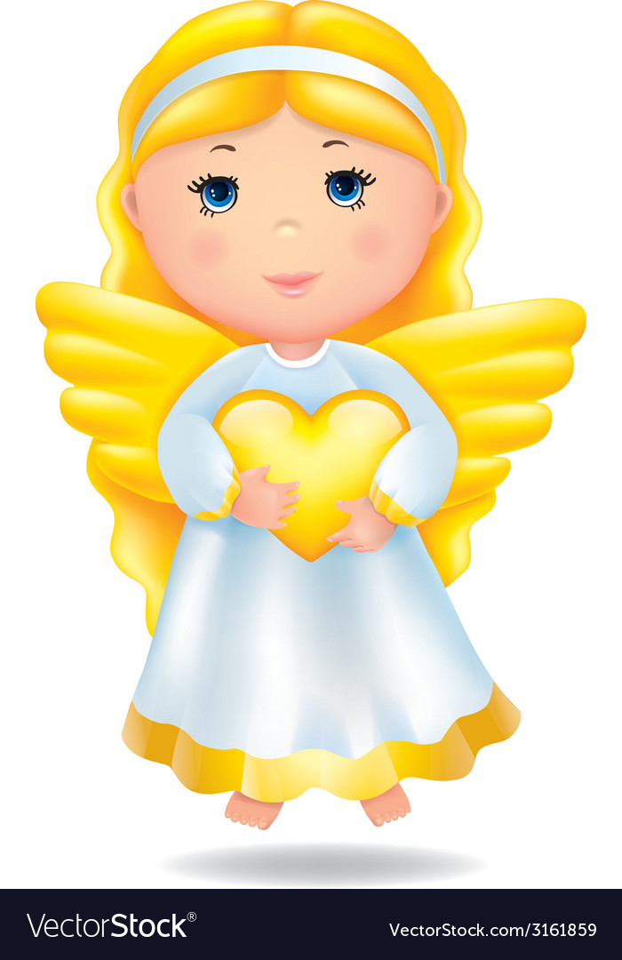 Angel with heart vector | Price: 1 Credit (USD $1)