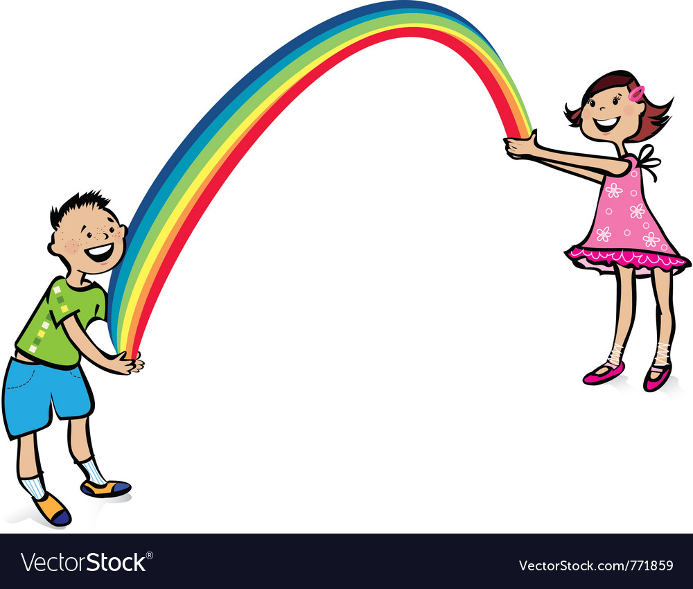 Children and rainbow vector | Price: 1 Credit (USD $1)