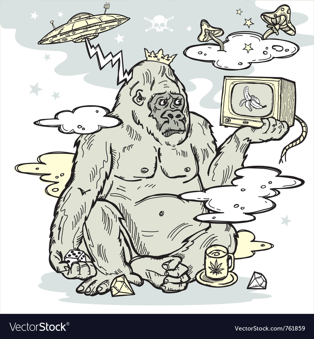 Gorilla in the mist vector | Price: 3 Credit (USD $3)