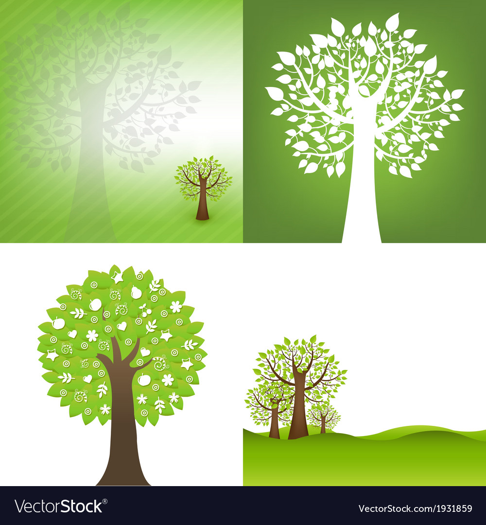 Green background with tree vector | Price: 1 Credit (USD $1)