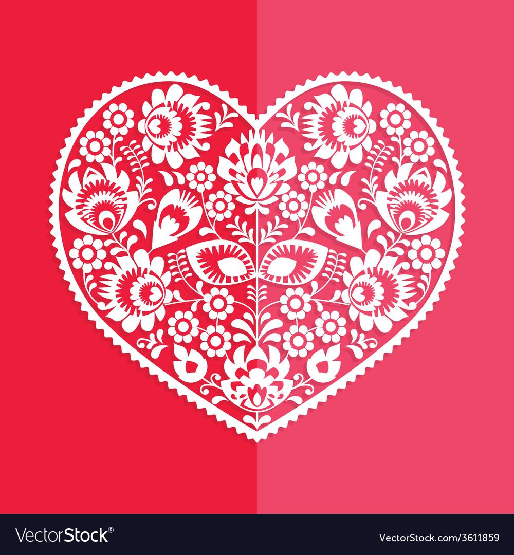 Valentines day card - polish folk art heart vector | Price: 1 Credit (USD $1)