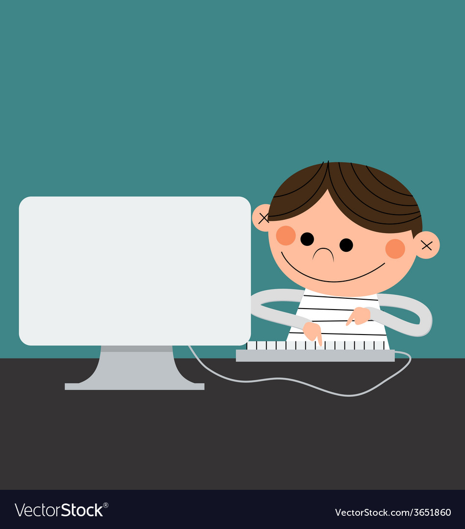 Computer kid vector | Price: 1 Credit (USD $1)