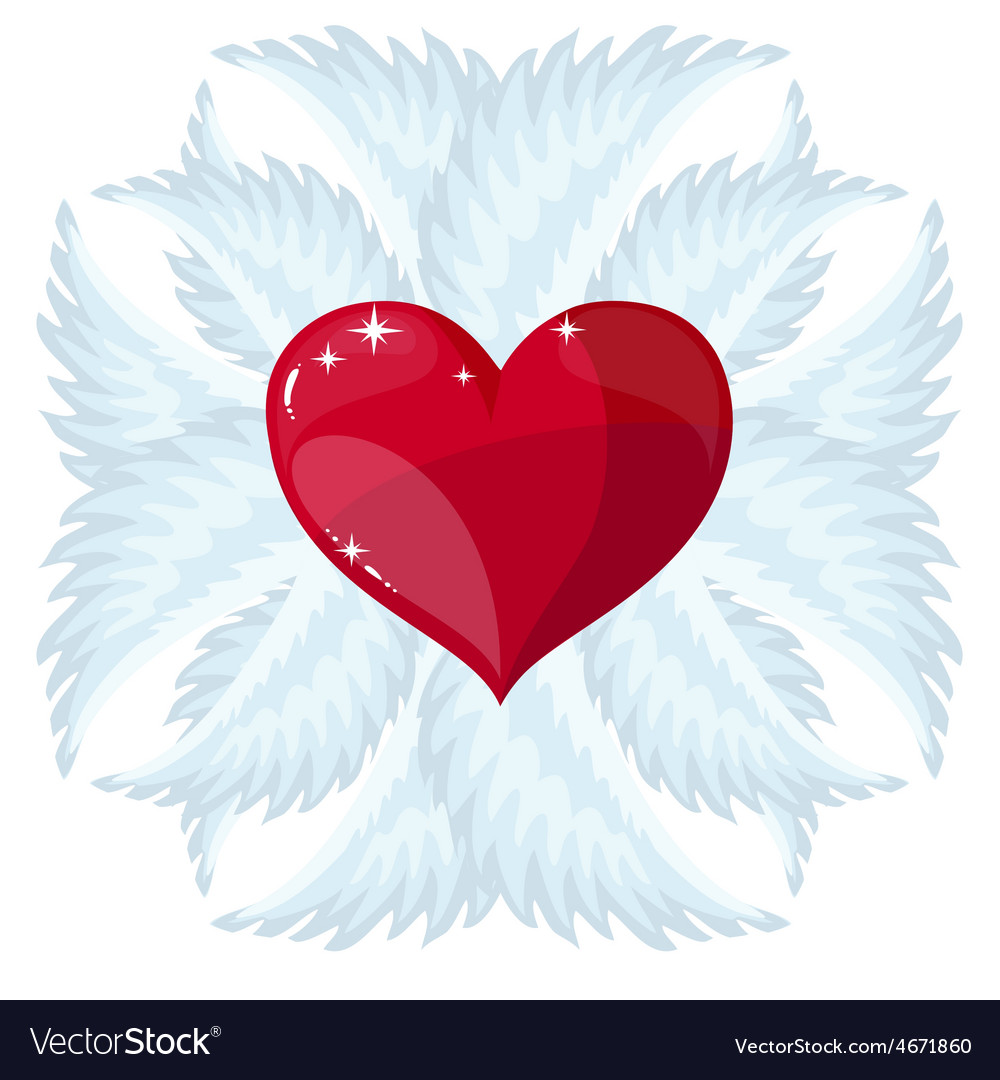Cross heart and wings vector | Price: 1 Credit (USD $1)