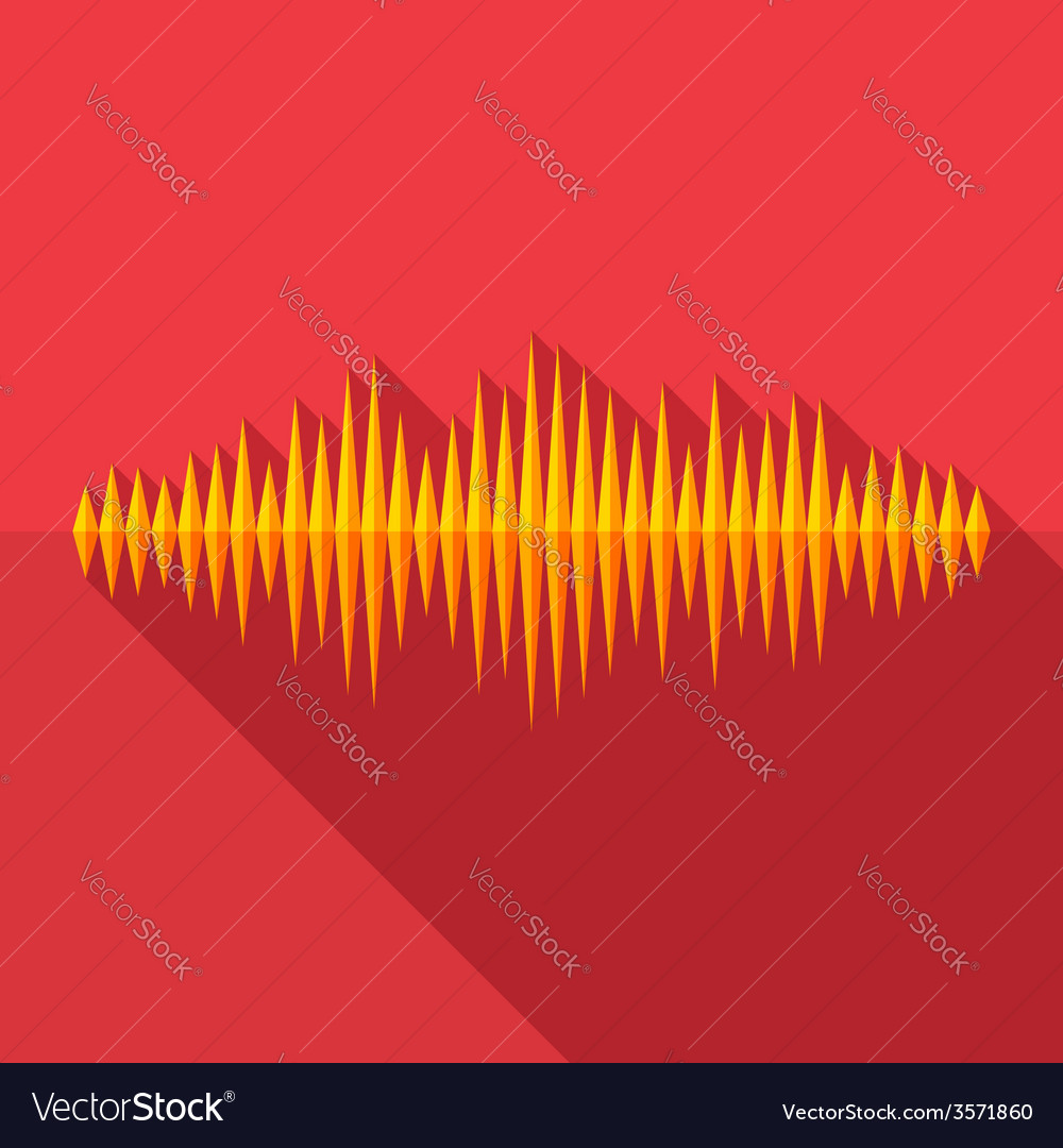 Flat long shadow music wave icon vector | Price: 1 Credit (USD $1)