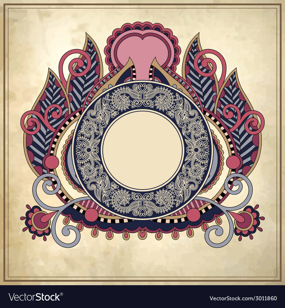 Floral circle frame on grunge paper background vector | Price: 1 Credit (USD $1)
