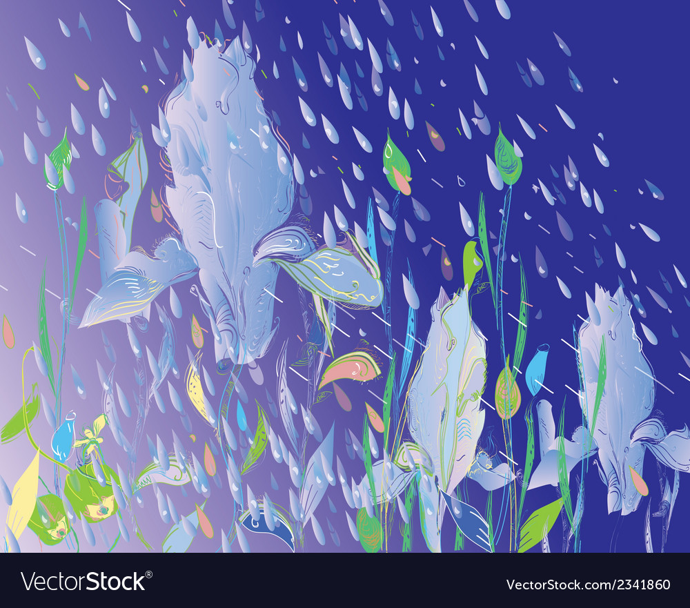 Flowers under rain vector | Price: 1 Credit (USD $1)