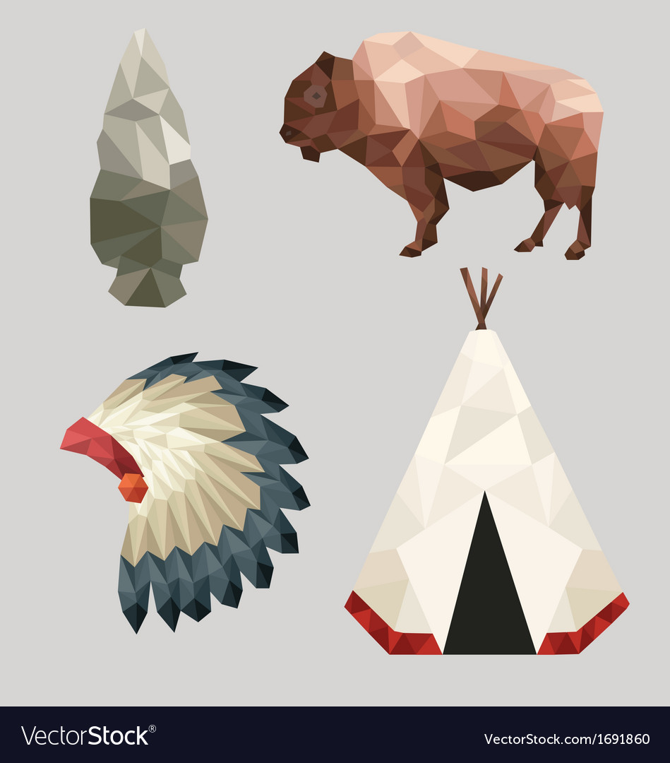 Native american icons vector | Price: 1 Credit (USD $1)