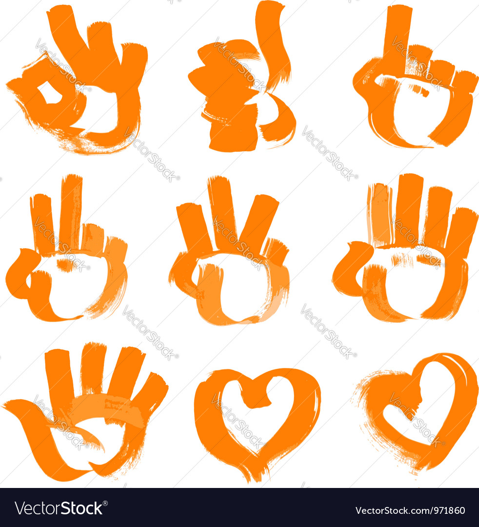 Orange brush strokes numerals hands heart and ok vector | Price: 1 Credit (USD $1)