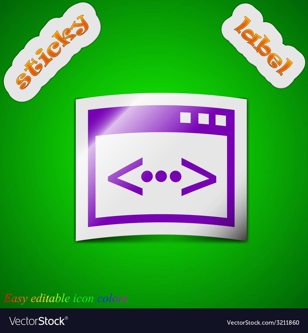 Programming code icon sign symbol chic colored vector | Price: 1 Credit (USD $1)