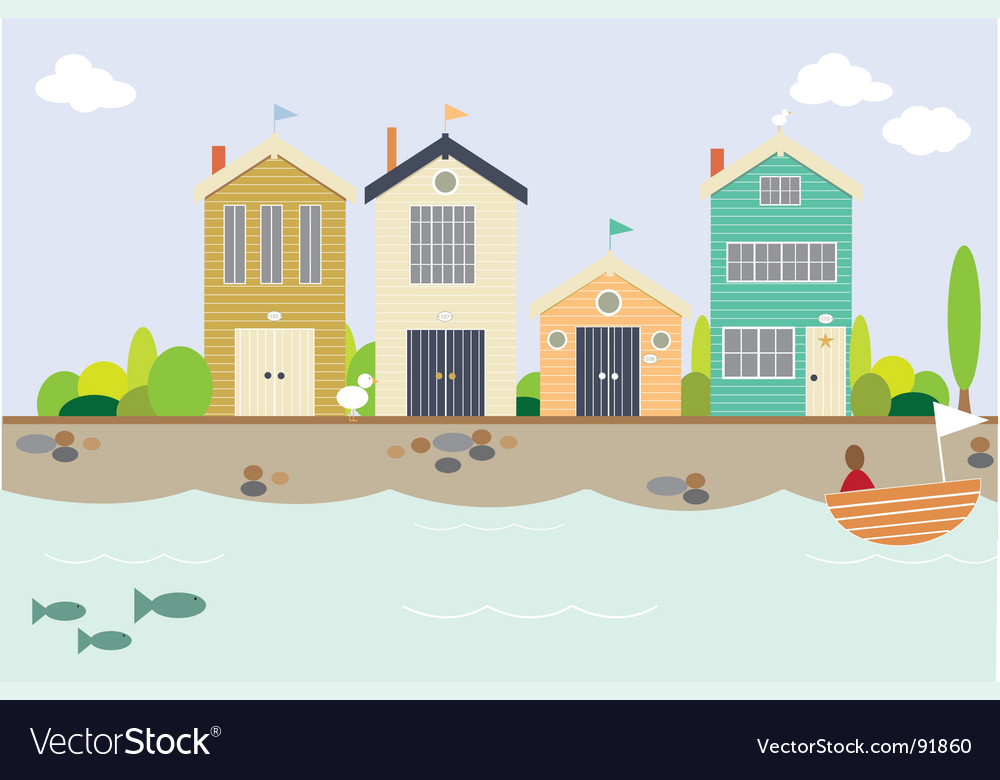 Seaside houses vector | Price: 1 Credit (USD $1)
