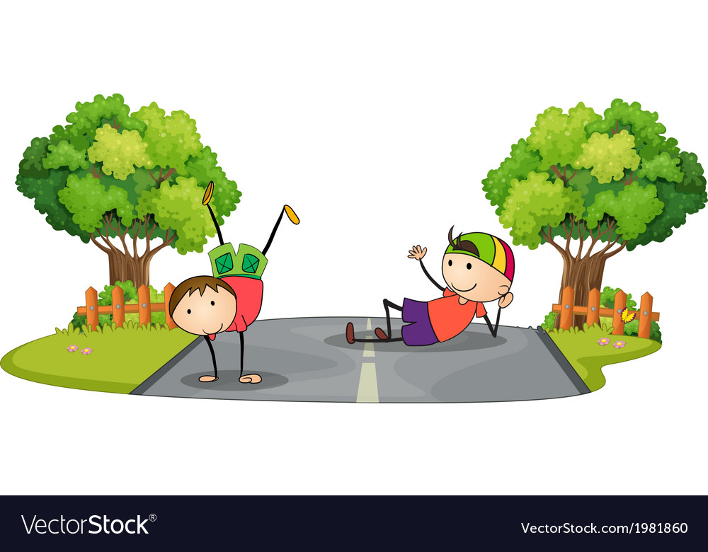 Two kids playing in the middle of the road vector | Price: 1 Credit (USD $1)