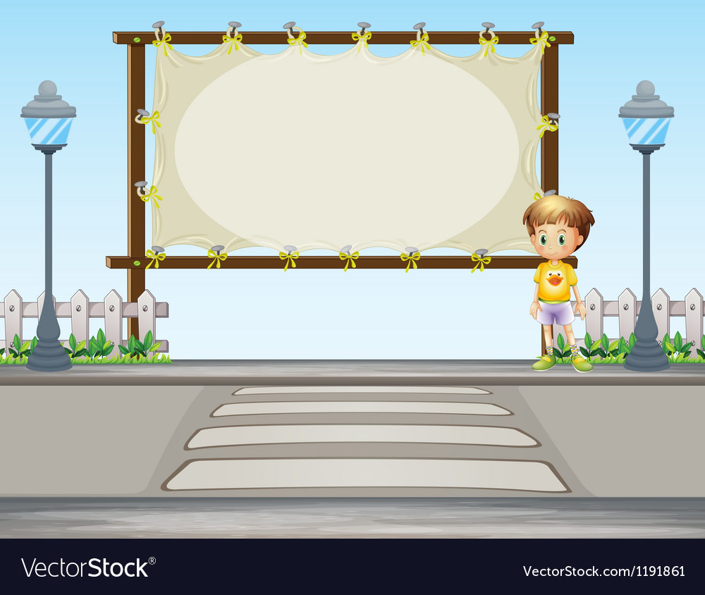 A boy near a blank ad space vector | Price: 1 Credit (USD $1)