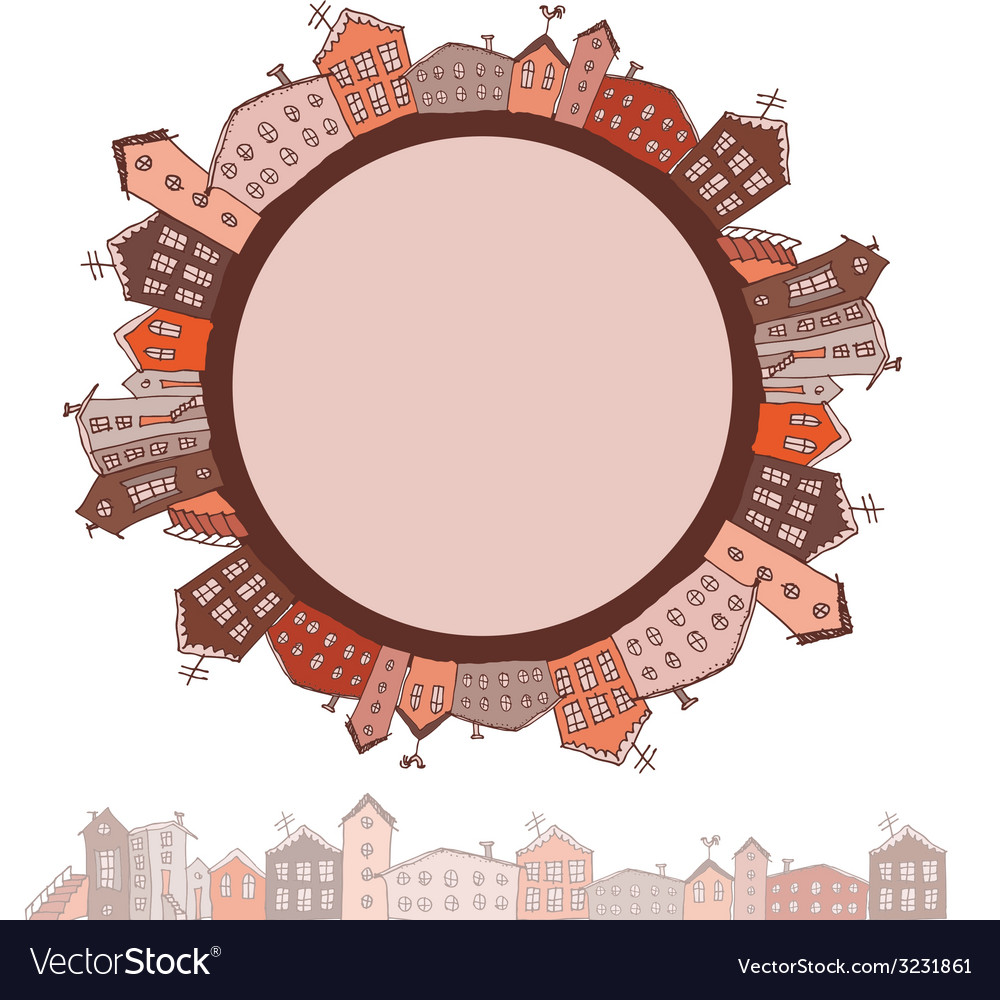 Collection of houses vintage on white background vector | Price: 1 Credit (USD $1)