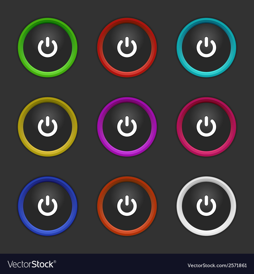 Colored power buttons vector | Price: 1 Credit (USD $1)
