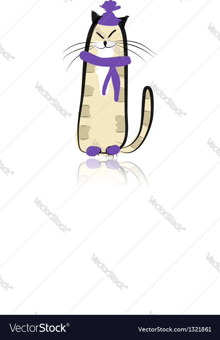 Funny cat in fashion hat for your design vector | Price: 1 Credit (USD $1)