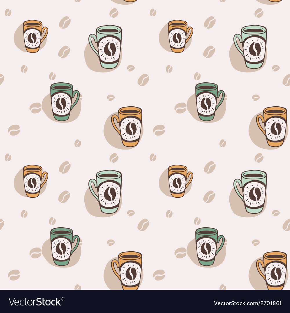 Hand drawn seamless background with coffee mugs vector | Price: 1 Credit (USD $1)