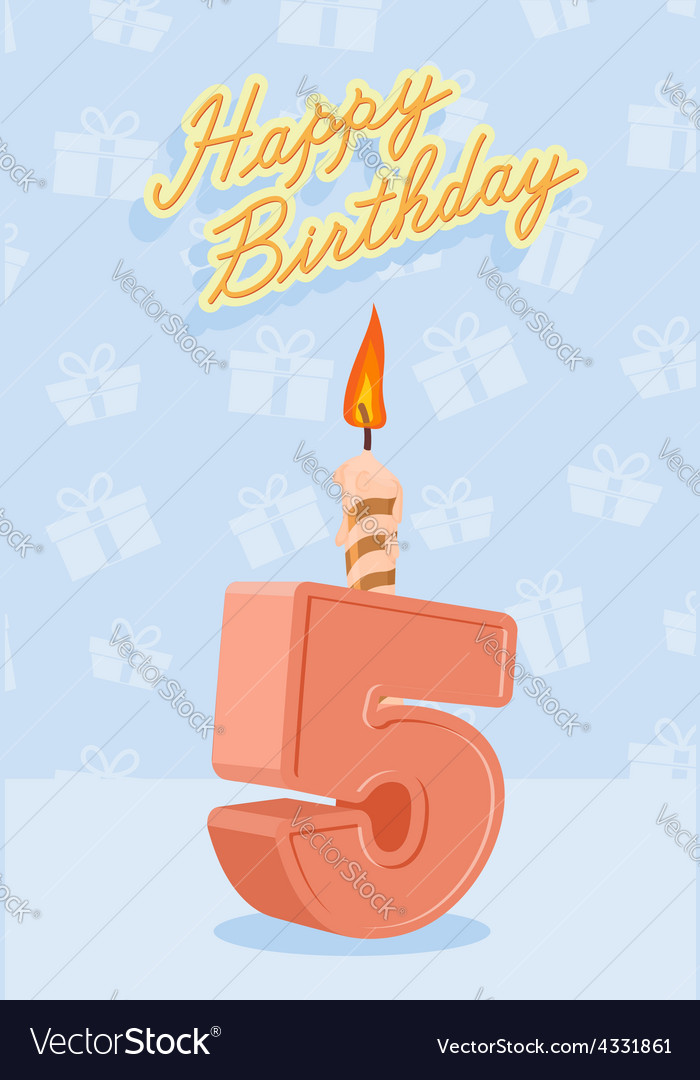 Happy birthday card with 5th birthday vector | Price: 1 Credit (USD $1)