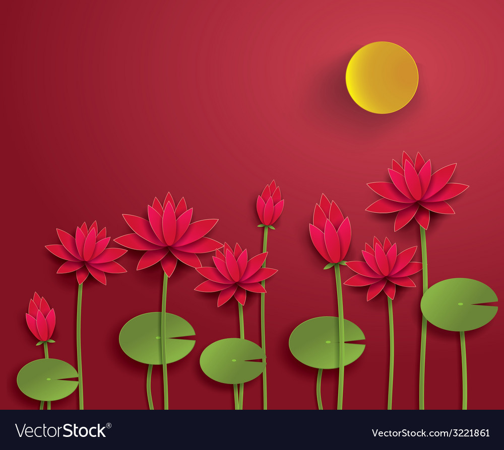 Lotus with moon vector | Price: 1 Credit (USD $1)