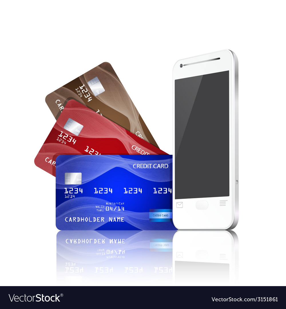 Mobile phone with credit cards vector | Price: 1 Credit (USD $1)