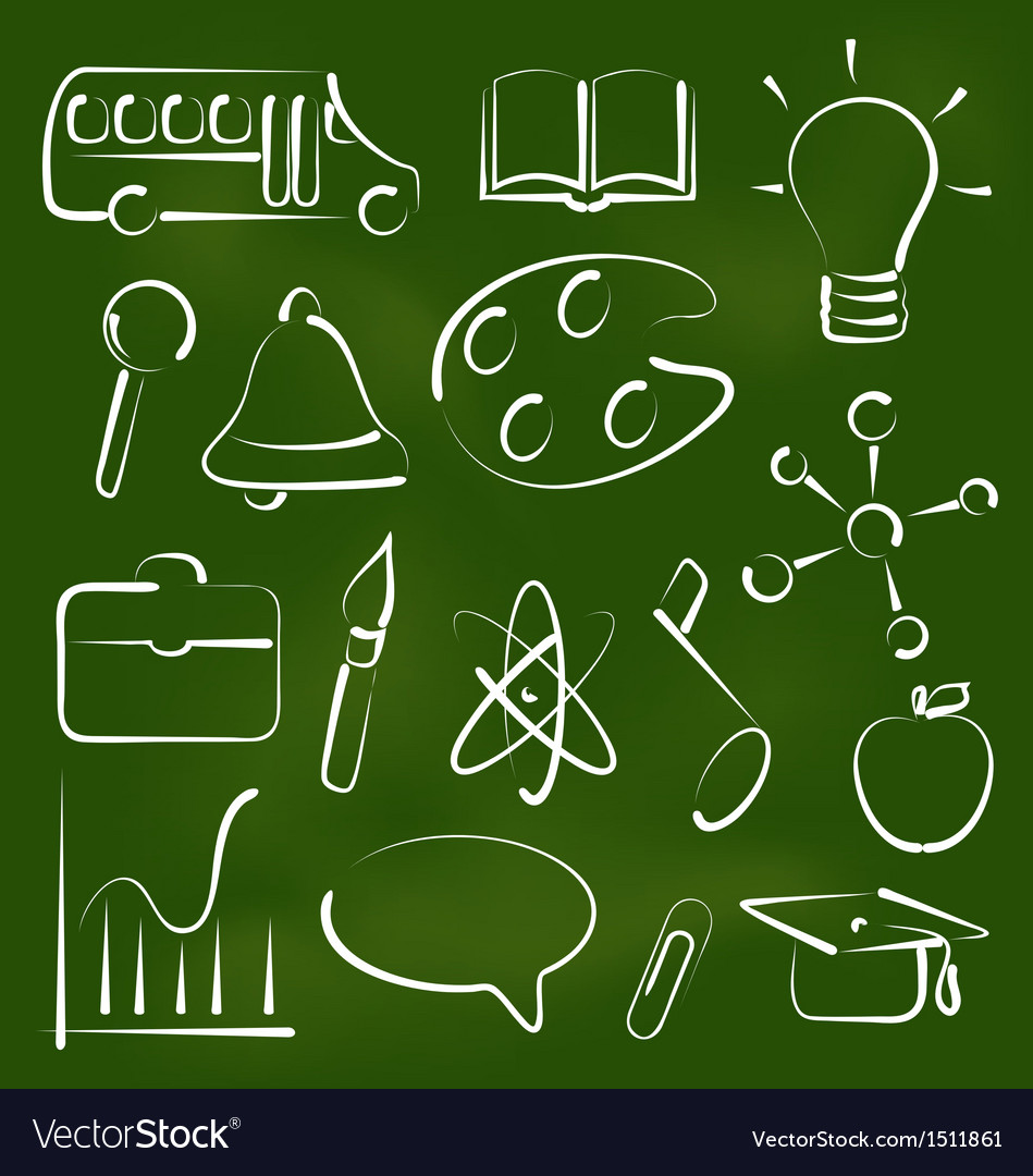 Set school icons in chalk doodle style vector | Price: 1 Credit (USD $1)