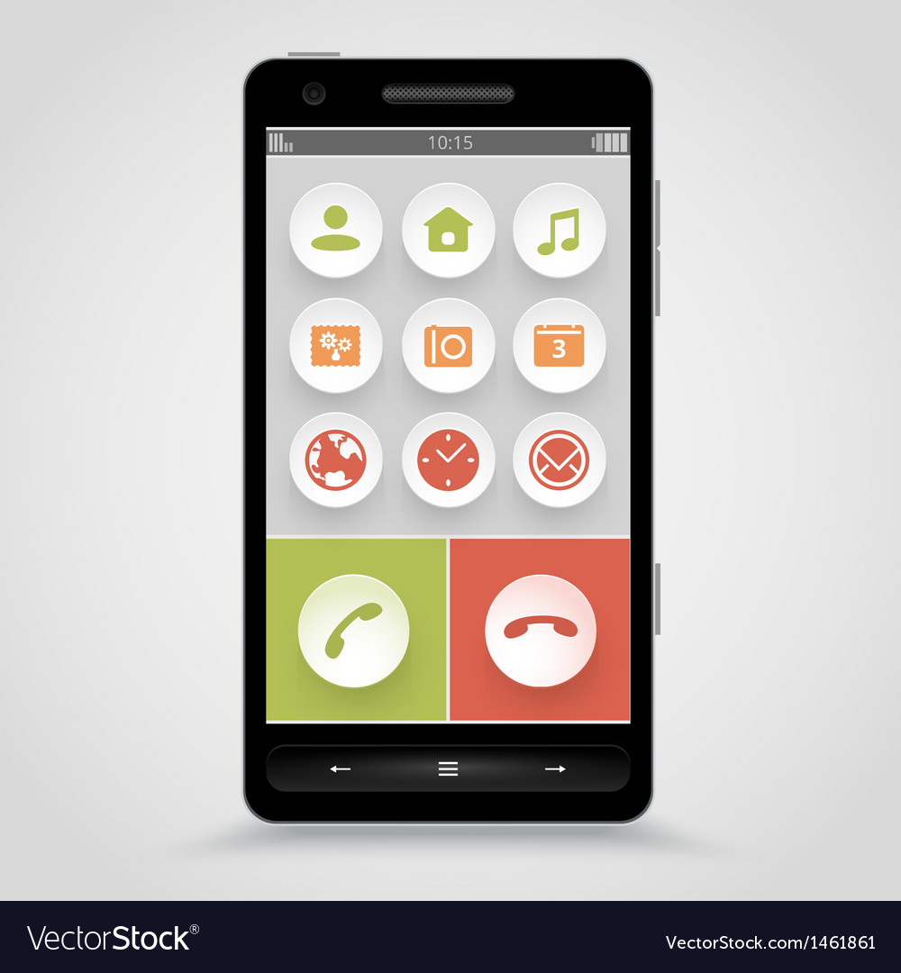 Smart phone with flat icons vector | Price: 1 Credit (USD $1)