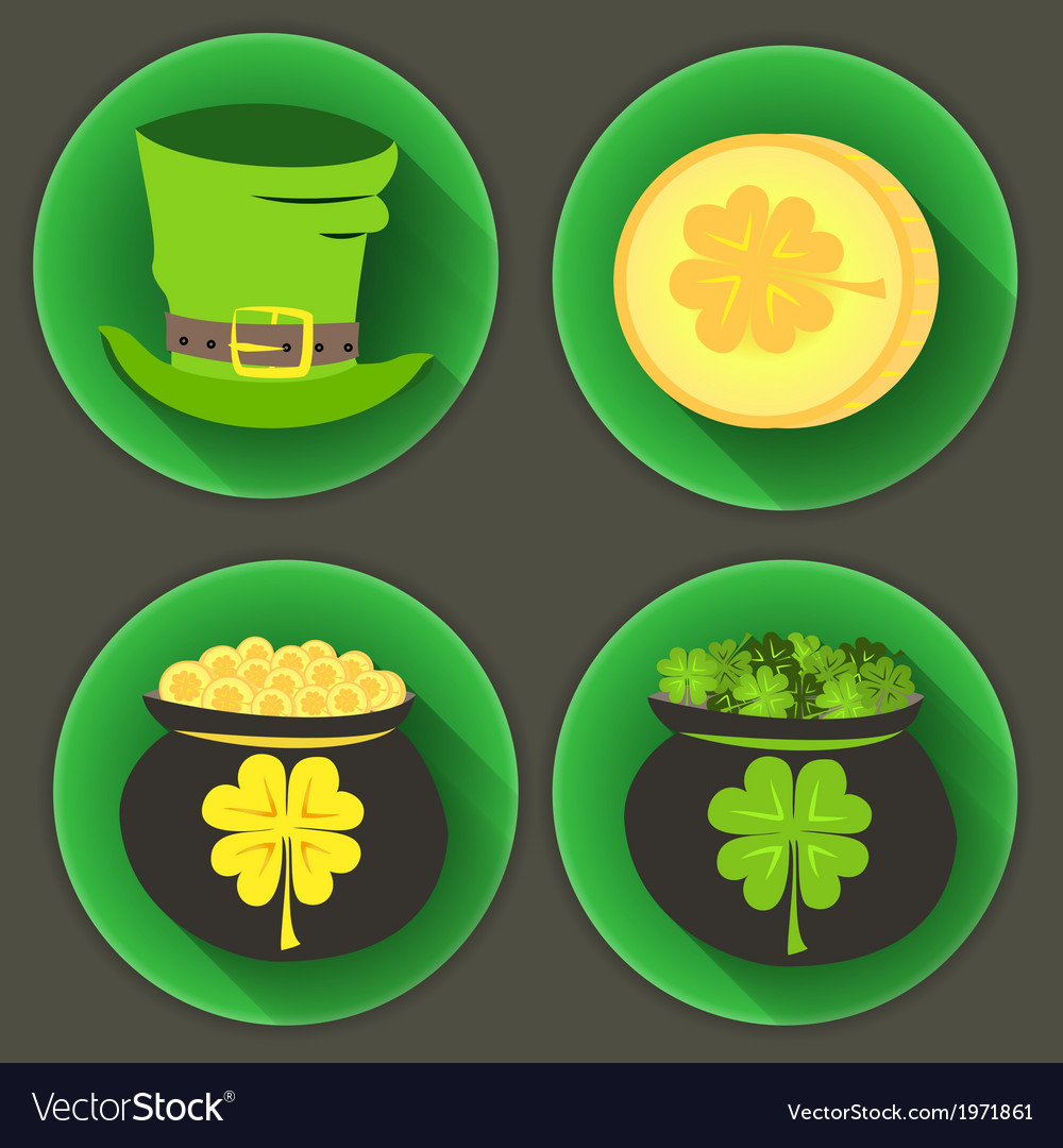 St patrick day four icons vector | Price: 1 Credit (USD $1)