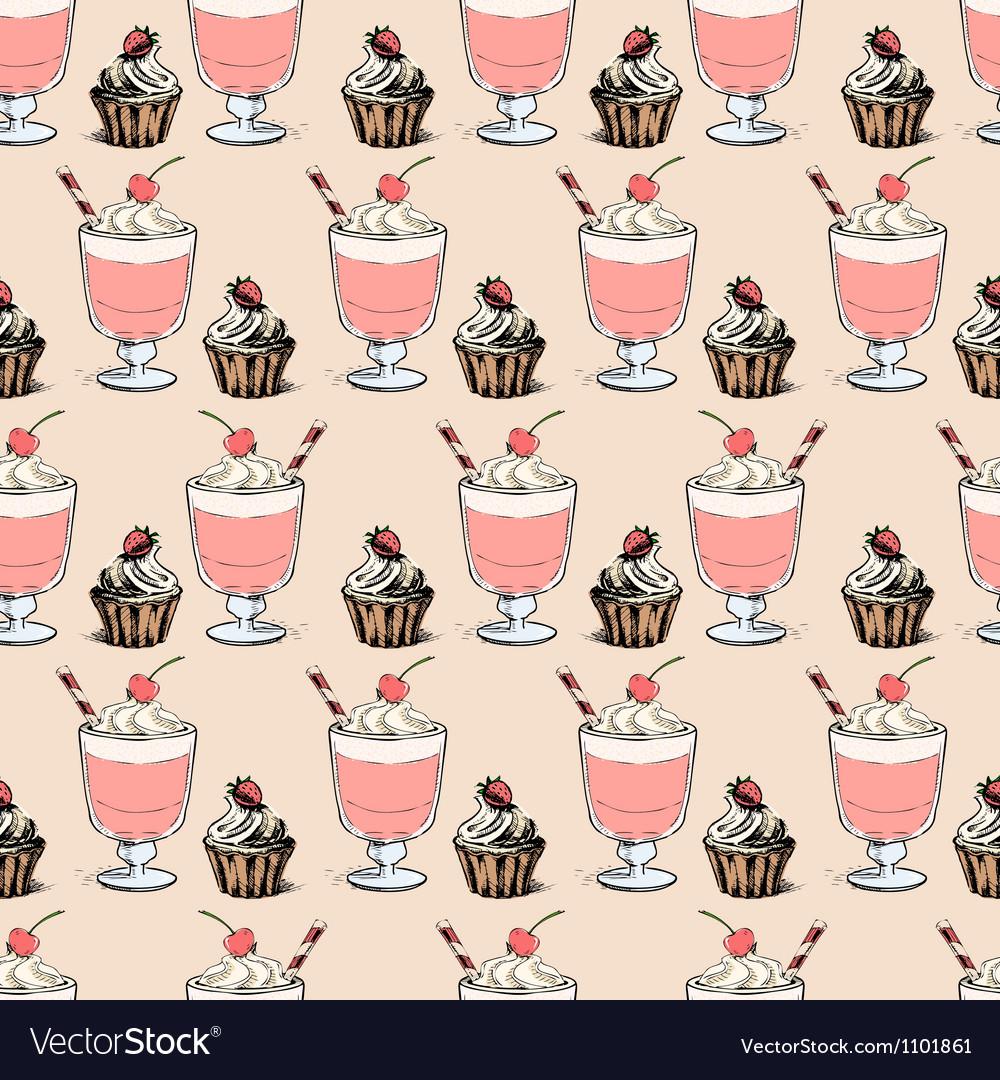 Sweet cupcakes and milkshakes background vector | Price: 1 Credit (USD $1)