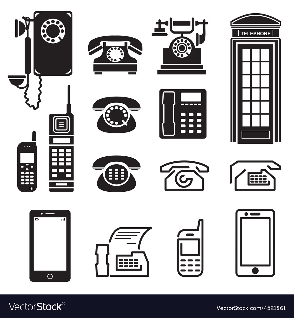 Telephone icons set vector | Price: 1 Credit (USD $1)