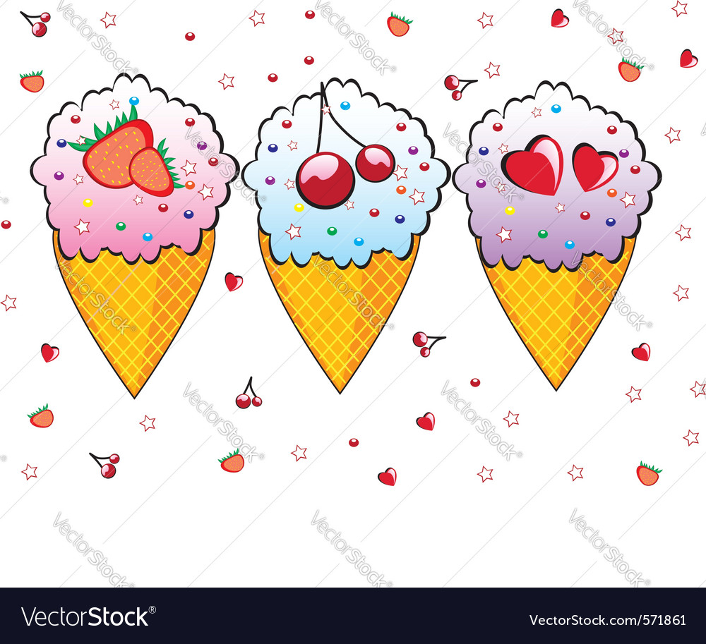Three ice creams vector | Price: 1 Credit (USD $1)