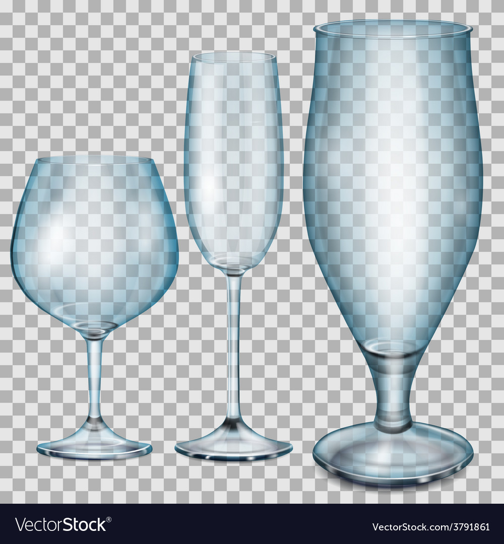 Transparent blue empty glass goblets vector | Price: 1 Credit (USD $1)