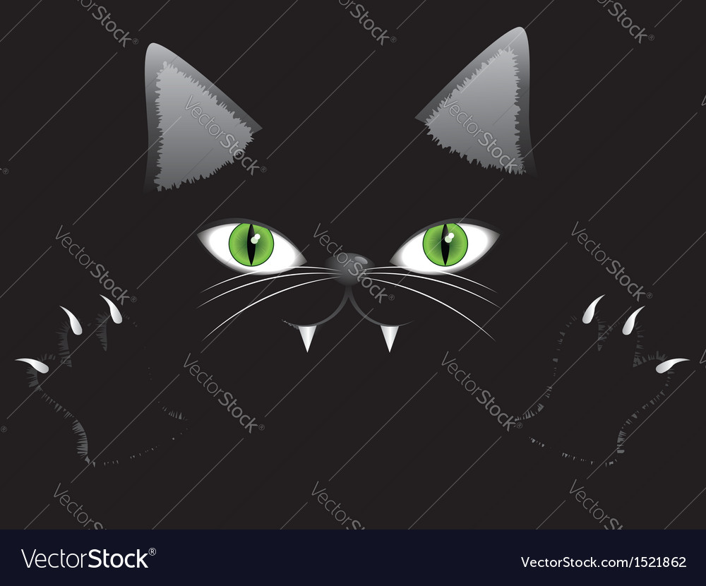 Black cat face with paw vector | Price: 1 Credit (USD $1)