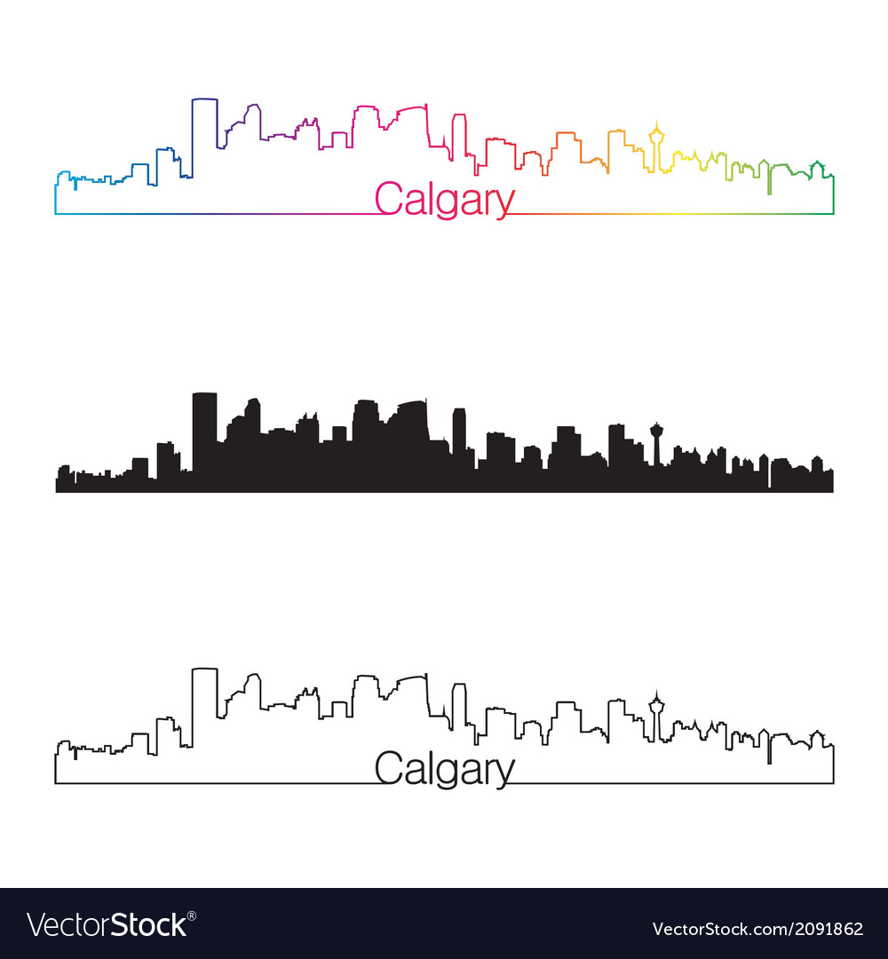 Calgary skyline linear style with rainbow vector | Price: 1 Credit (USD $1)