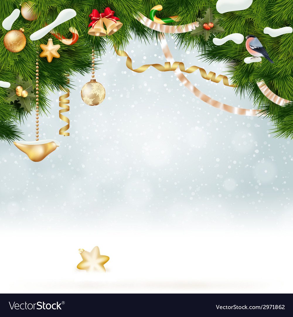 Christmas background with fir and gold balls vector | Price: 3 Credit (USD $3)