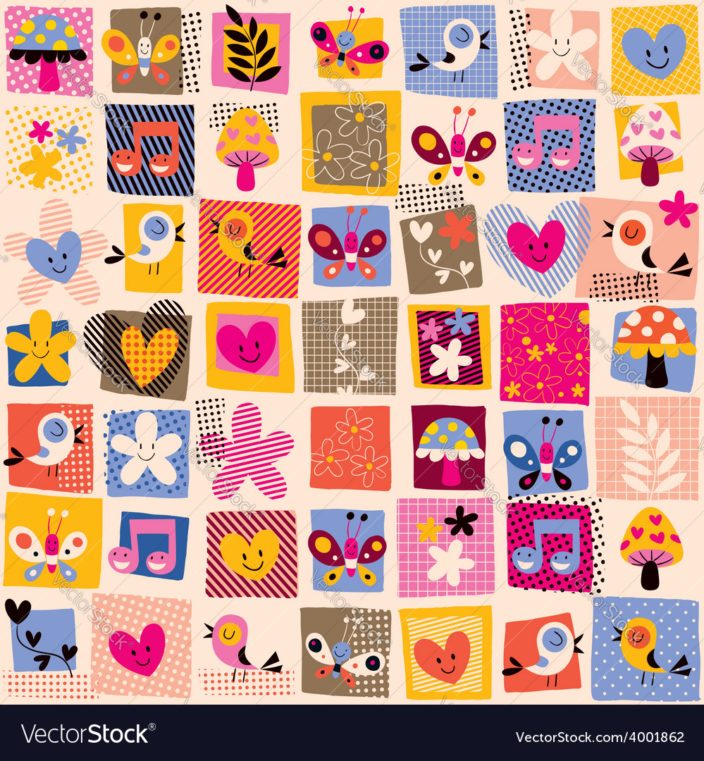 Cute flowers birds hearts pattern 3 vector | Price: 1 Credit (USD $1)