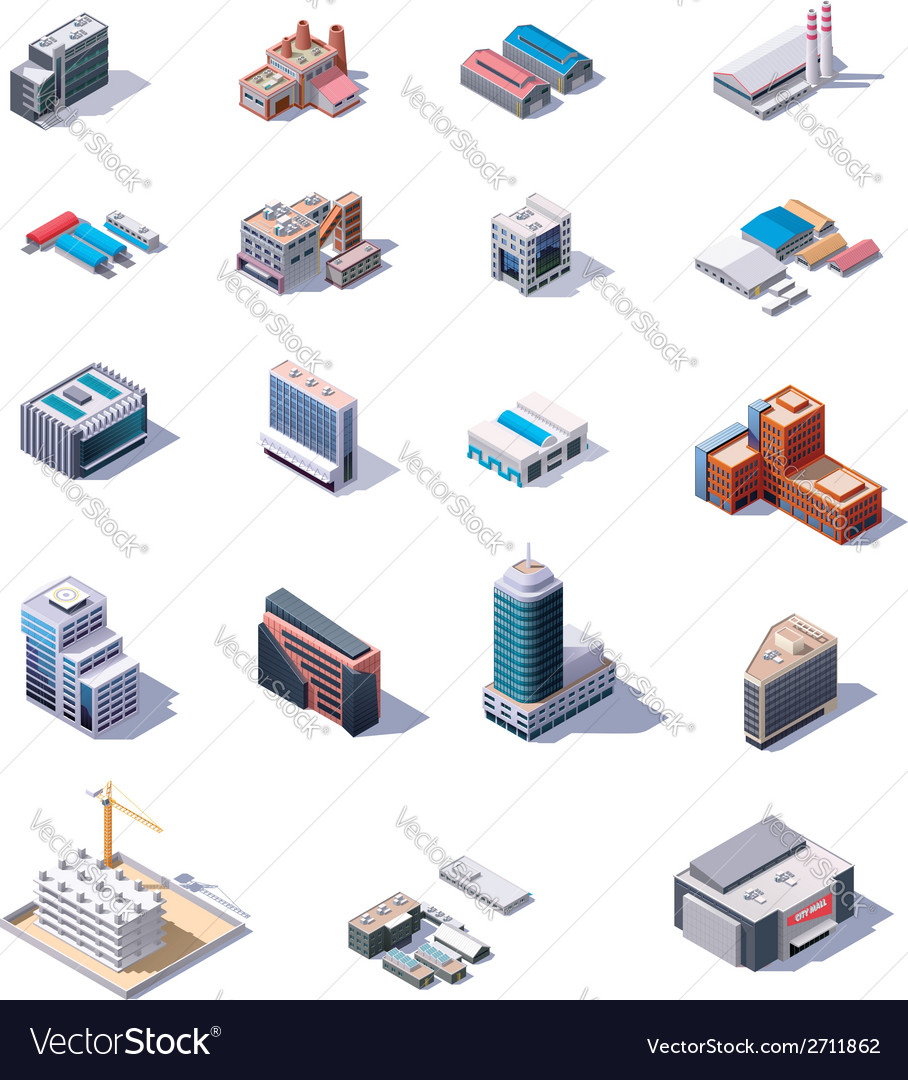 Isometric factory and office buildings set vector