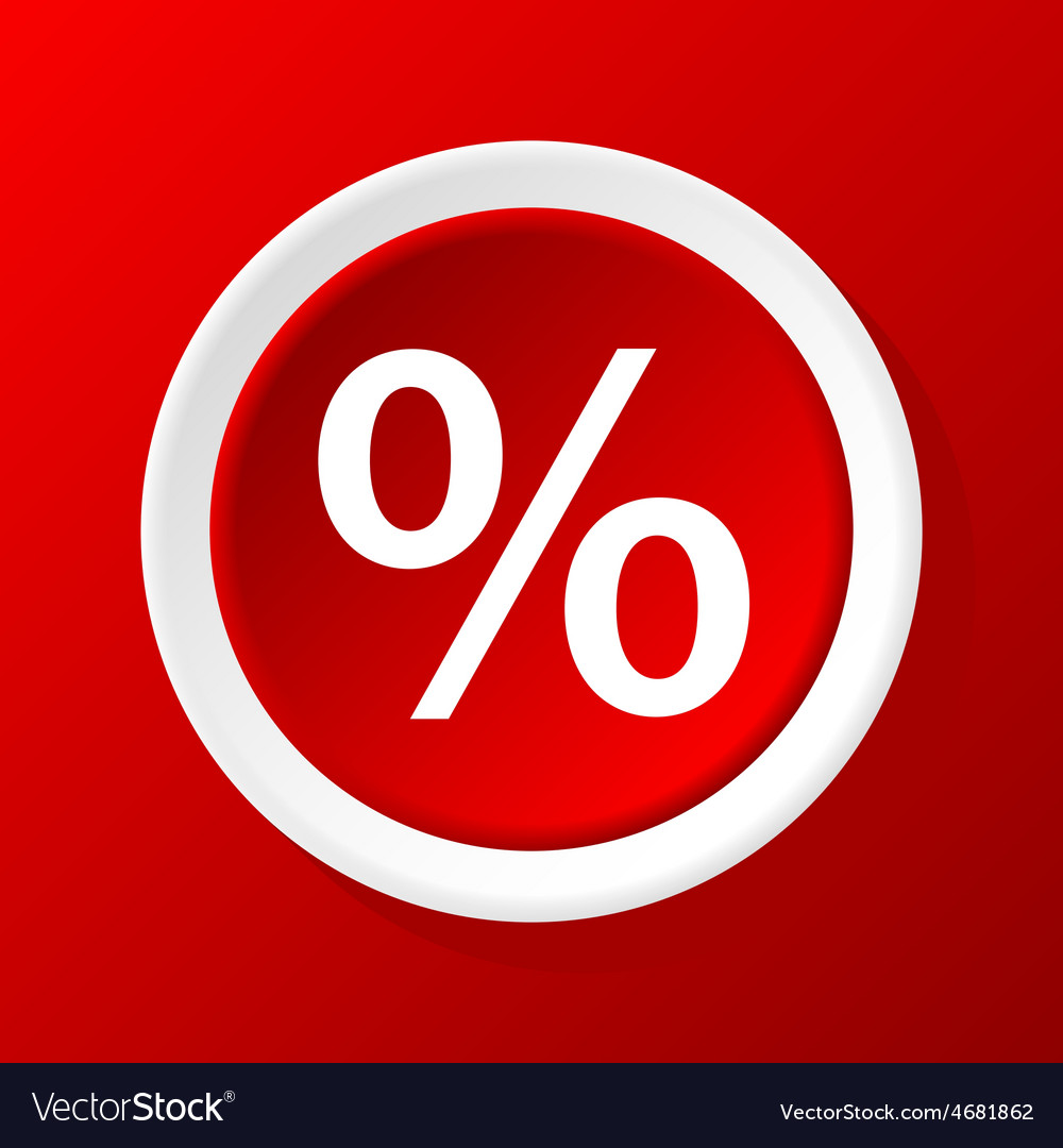 Percent icon on red vector | Price: 1 Credit (USD $1)