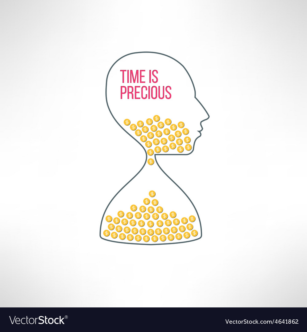 Sandglass face with dollar coins time is vector | Price: 1 Credit (USD $1)