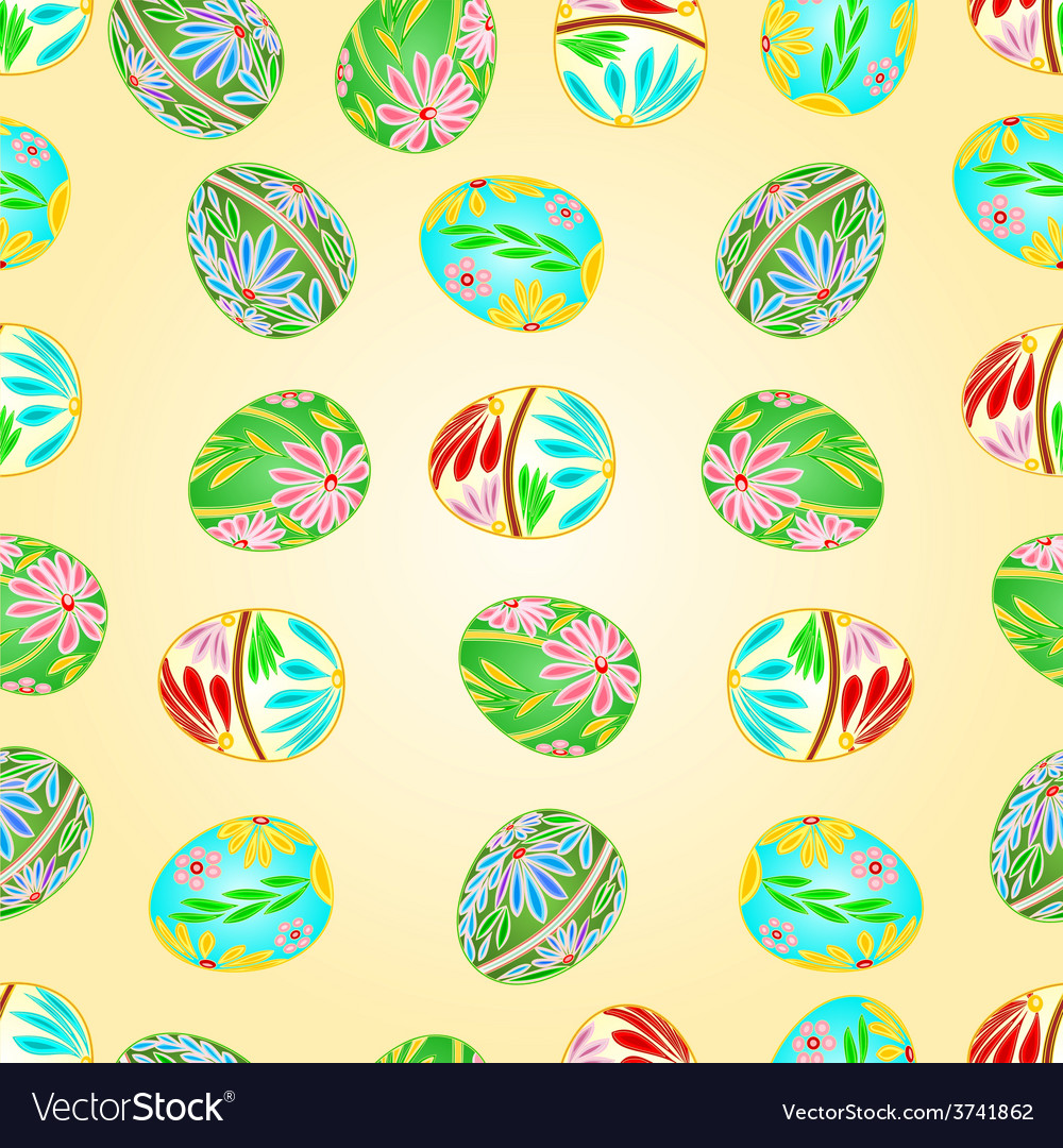 Seamless texture easter eggs floral pattern vector | Price: 1 Credit (USD $1)